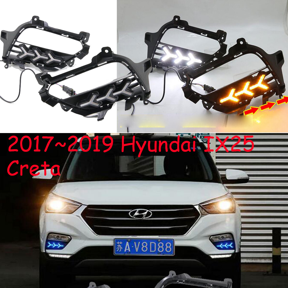 1set Bumper headlight Creta for Hyundai IX25 daytime light 2017~2019y car accessories LED DRL headlamp for IX25 fog light