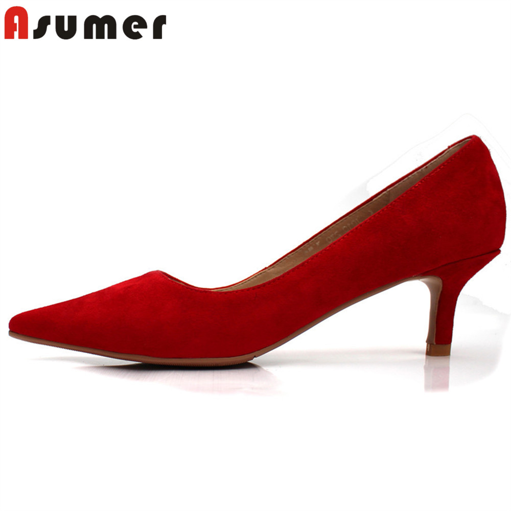 ASUMER 2018 fashion shoes woman pointed toe shallow elegant pumps women shoes thin heel suede leather high heels shoes lakeshi new fashion pumps thin sexy high heeled shoes woman pointed suede hollow out bowknot sweet elegant women shoes