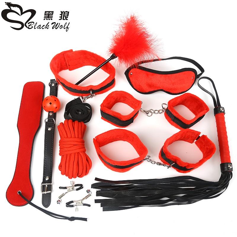 Black Wolf 10Pcs New Leather Bondage Set Restraints Adult -3486