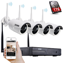 ZOSI 4CH CCTV System 960P NVR 4PCS 1.3 MP IR Outdoor P2P Wireless Wifi IP CCTV Camera Security System Surveillance Kit 1TB HDD