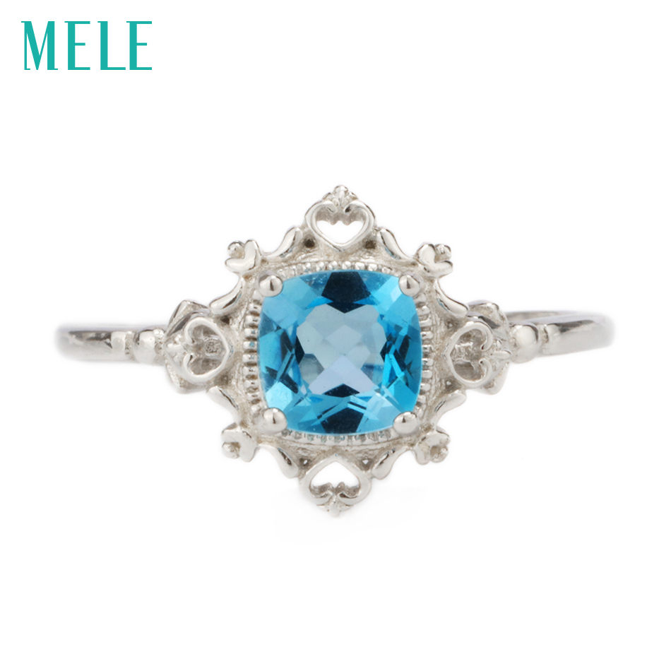 Natural blue topaz silver ring, cushion 6mm*6mm, ocean blue color topaz, elegant and exquisite design, fashion jewelry for womenNatural blue topaz silver ring, cushion 6mm*6mm, ocean blue color topaz, elegant and exquisite design, fashion jewelry for women