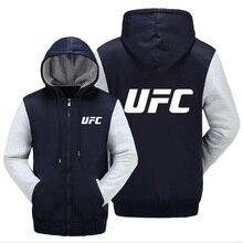 UFC Letter Print Logo Men Jacket Thicken Coat Men Hoodies Warm Coat Cotton Jacket Fleece Hoodie Long Sleeve Sweatshirts gibson logo men s hoodie small
