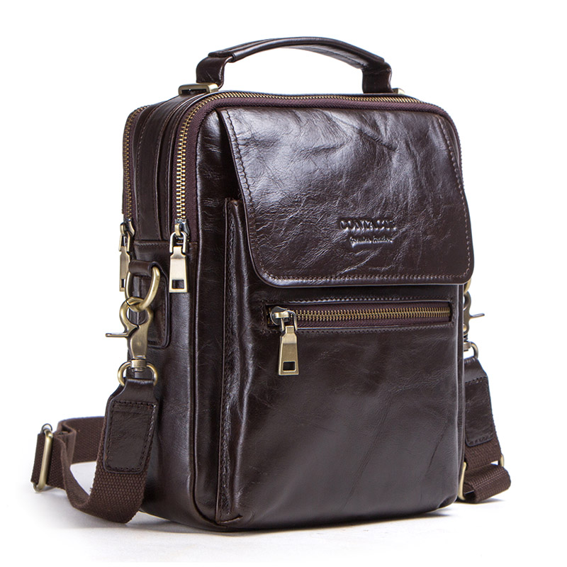 """Image 3 - CONTACT'S new genuine leather messenger bag for men casual shoulder bags male flap bag luxury brand crossbody bags for 9.7"""" Ipad-in Crossbody Bags from Luggage & Bags"""