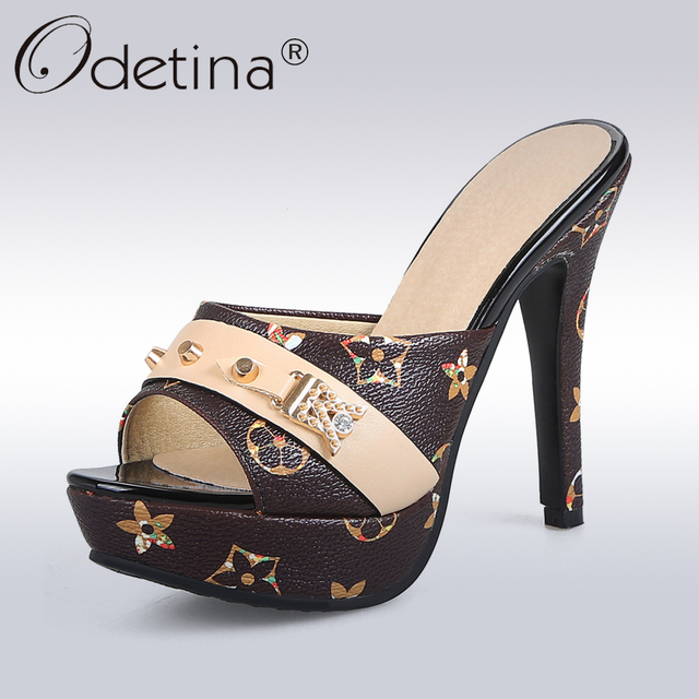 ac0e4a2df27 Odetina 2018 New Fashion Women Platform Mules Pumps Extreme High Heels  Party Sexy Shoes Peep Toe ladies Footwear big Size 33-43