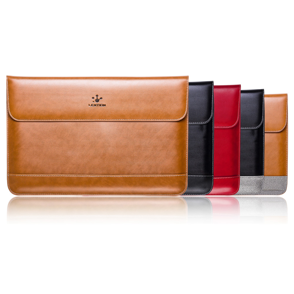 premium real genuine leather flap sleeve bag case notebook