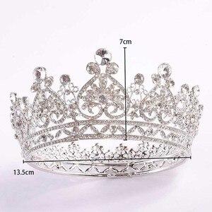 Image 5 - FORSEVEN كامل دائرة الراين العروس التيجان الملكة الأميرة مسابقة الإكليل ولي دي نويفا الزفاف مجوهرات اكسسوارات الشعر