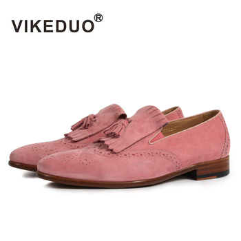 Vikeduo 2018 handmade Superstar Fashion luxury driving  Party casual pink Genuine Leather leisure flat Men's suede Loafer Shoes