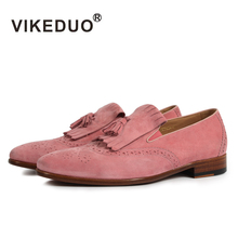VIKEDUO Luxury Brand Fashion Men's Shoes Tassel Hollow Handmade Loafers Casual Suede Genuine Leather medusa Male Shoe Footwear