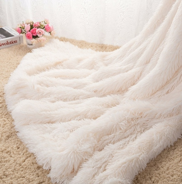 Prime Aliexpress Com Buy Super Soft Long Shaggy Warm Elegant Cozy With Fluffy Throw Blanket Bed Sofa Blanket Bedspread Couverture Polaire Plaids Free From Bralicious Painted Fabric Chair Ideas Braliciousco