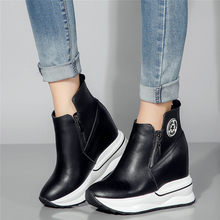2019 Trainers Women Genuine Leather Wedges High Heel Pumps Platform Creepers Casual Shoes Winter Warm Punk Sneakers New
