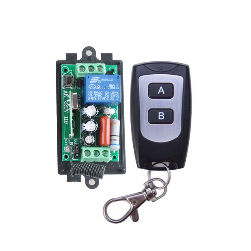 AC 220V 1CH 10A Wireless Remote Control Switch Relay Output Radio Receiver Module + Black/White Waterproof TransmitterAC 220V 1CH 10A Wireless Remote Control Switch Relay Output Radio Receiver Module + Black/White Waterproof Transmitter