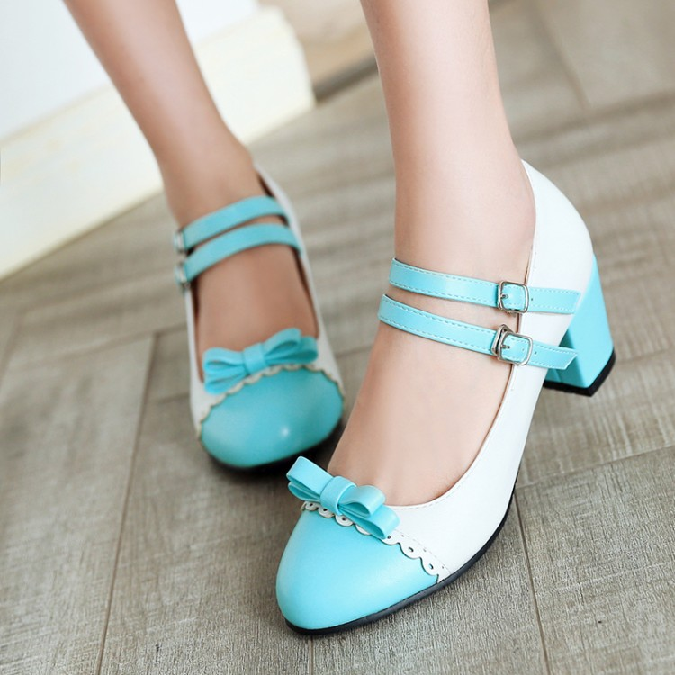Image 3 - Big Size 11 12 ladies high heels women shoes woman pumps Button tied single shoe with round head and color matchingWomens Pumps   -