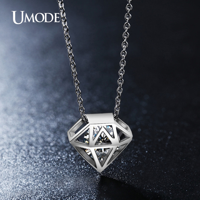 UMODE Rhodium color Top Grade AAA Cubic Zirconia Hollow Shaped Pendant Necklaces Jewelry For Women Bijoux AUN0115B