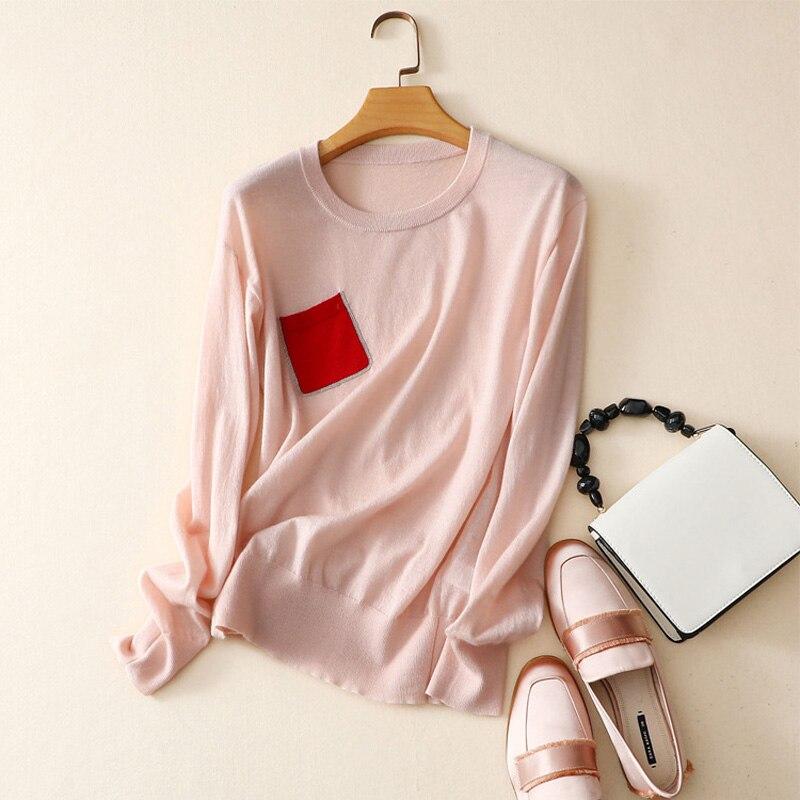 Nowy 100% czystego kaszmiru kobiet swetry i pulowery z długim rękawem z dzianiny wokół szyi miękki kaszmir różowy sweter sweter z kieszeń w Pulowery od Odzież damska na  Grupa 1