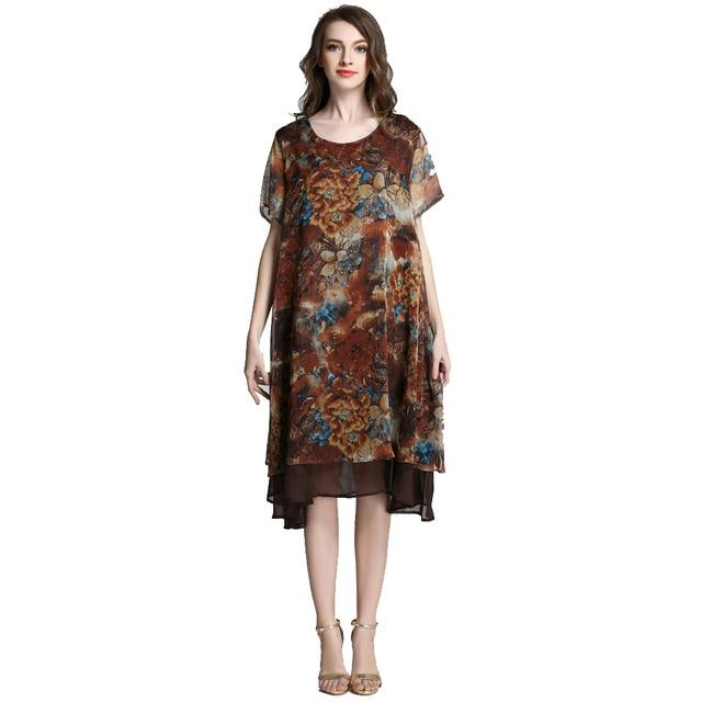 Loose Long Floral Printed Chiffon Dress Short Sleeve Summer ...
