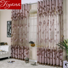 Leaves Pattern Sheer Panel Window Curtains Voile Yarn For Modern Living Room Bedroom Curtains Tulle Custom