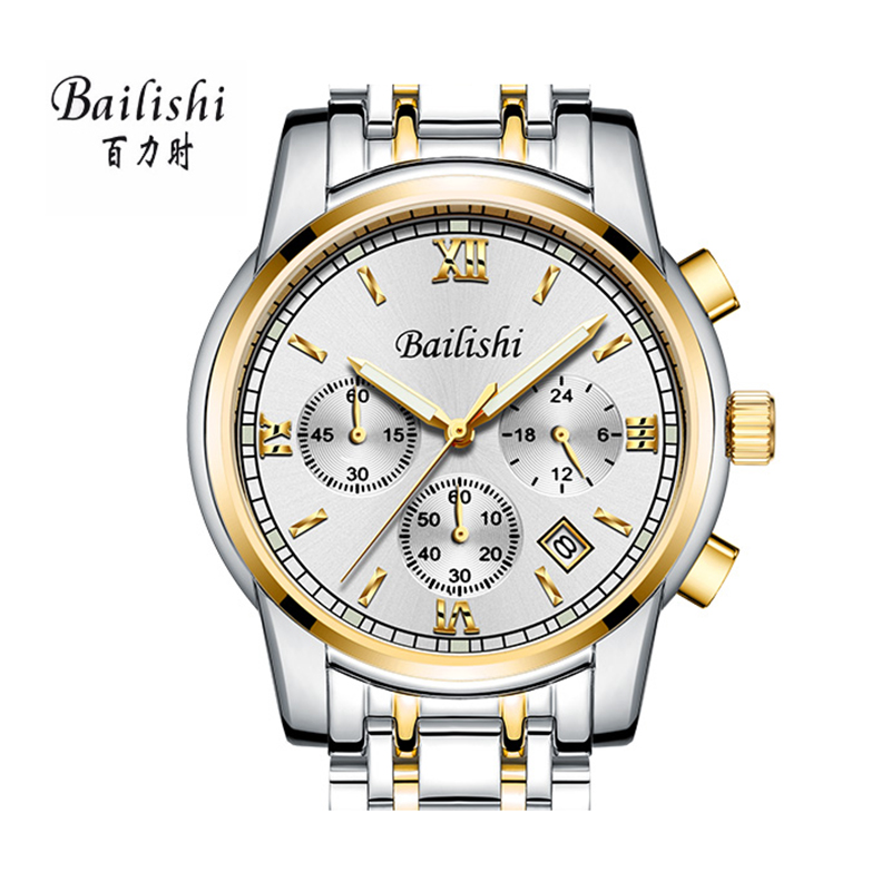 BAILISHI luxury brand men watch Male Gold Stainless Steel Casual Quartz Watch Men Watches Steel Strap Military Wrist Watch bailishi top luxury brand men watches diamonds hour stainless steel sports wrist watch male causal quartz male watch waterproof