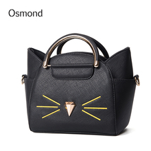Osmond Women Shoulder Bag 2017 New Solid PU Leather Cute Cat Women Messenger Bags Crossbody Simple Fashion Handbag Shopper Bag