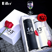 Diller 2Pcs Set 500ML Couples Thermos Stainless Steel Insulated Thermos Love Style Water Bottle Tea High