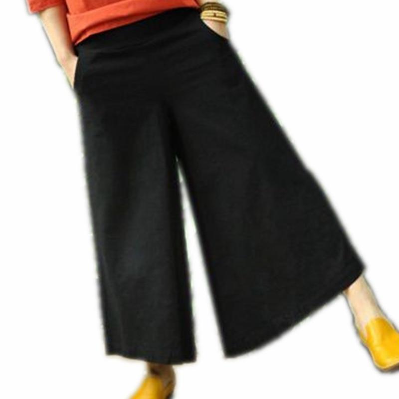 Pantalones anchos Lino de algodón longitud del tobillo Boho Pantalones  anchos Pantalones moda verano blanco rojo ejército verde falda negro  Pantalones 3154129552df