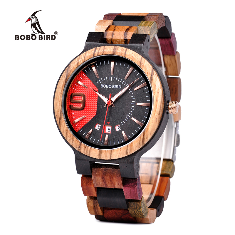 BOBO BIRD Men Wood Watch Quartz Colorful Wooden Band Wristwatches with Custom Logo Creative Clock Relogio Masculino K-Q13-1 bobo bird men s wooden watch with all wood strap quartz analog with diamond relojes hombre gifts in wood box custom logo
