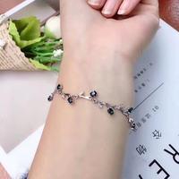 natural blue sapphire stone Bracelet Natural gemstone bracelet 925 sterling silver Classic elegant round for women party fine