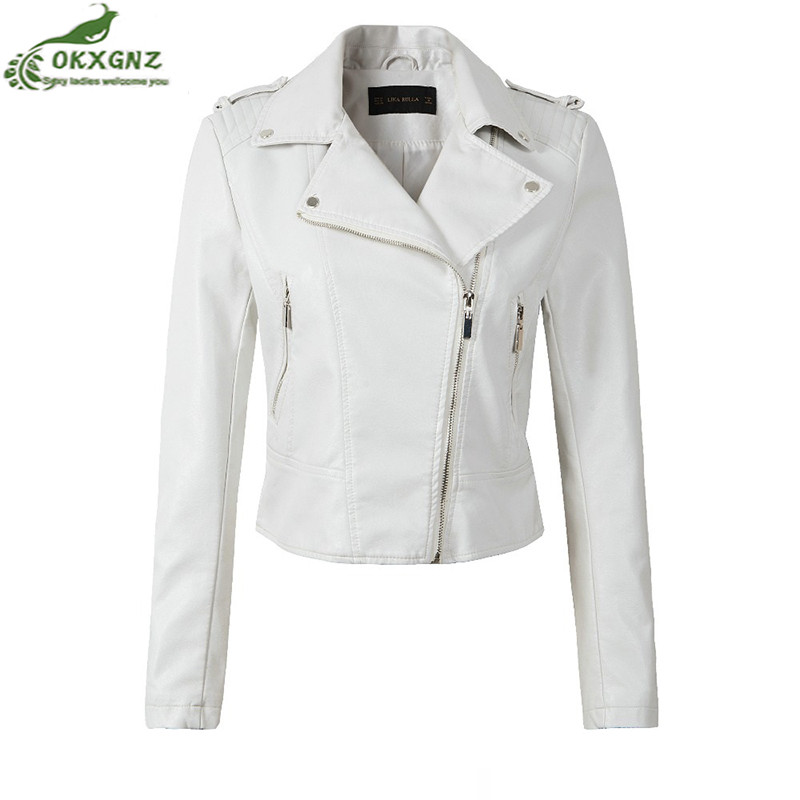 High quality Motorcycle PU   Leather   Jacket Women Winter And Autumn New Fashion Coat 4 Color Zipper Outerwear jacket Coat OKXGNZ