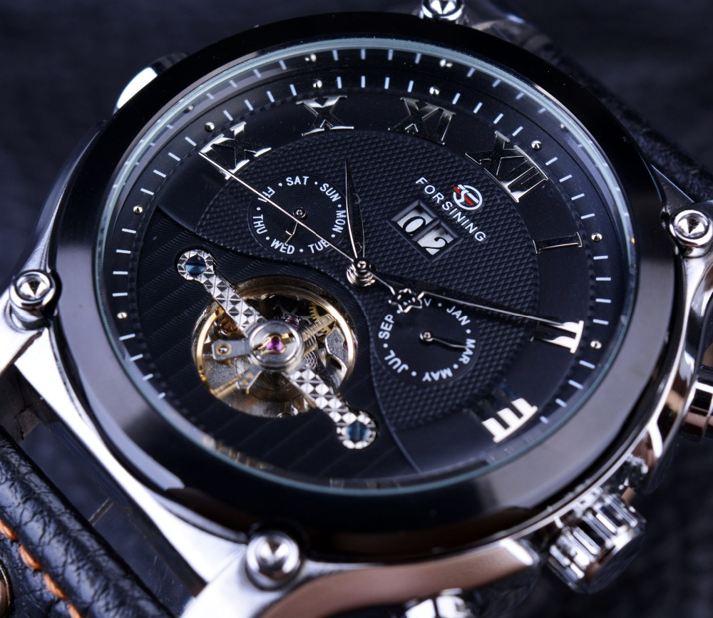 Forsining Tourbillon Classic Design Genuine Leather Strap Watches Mens Watches Top Brand Luxury Automatic Casual Watch