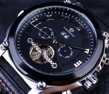 Forsining Tourbillon Diseño Clásico Correa de Cuero Genuino Relojes Para Hombre Relojes de Primeras Marcas de Lujo Automático Reloj Ocasional Reloj de Los Hombres