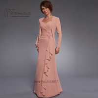 Old Pink Mother of the Bride Dresses with Jacket Lace Beaded Vestido de Madrinha Chiffon Pant Suit Wedding Godmother Dresses