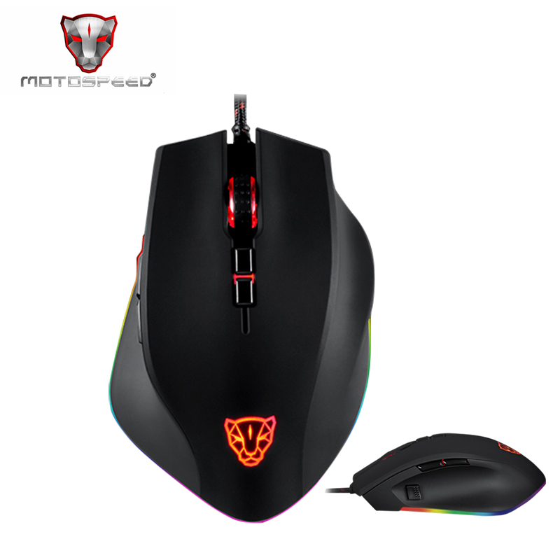 Motospeed V80 5000DPI Optical RGB Backlight USB Wired Gaming Mouse PMW3325 Ergonomic Gamer Mice For PC Laptop PK V30 V40 V60 V70