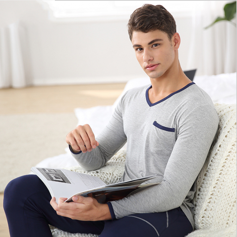 2019 Spring Autumn Brand Homewear Men Causal Pajama Sets Male Modal Sleepwear Suit Men's Long Sleeve V-neck Collar Shirts +pants
