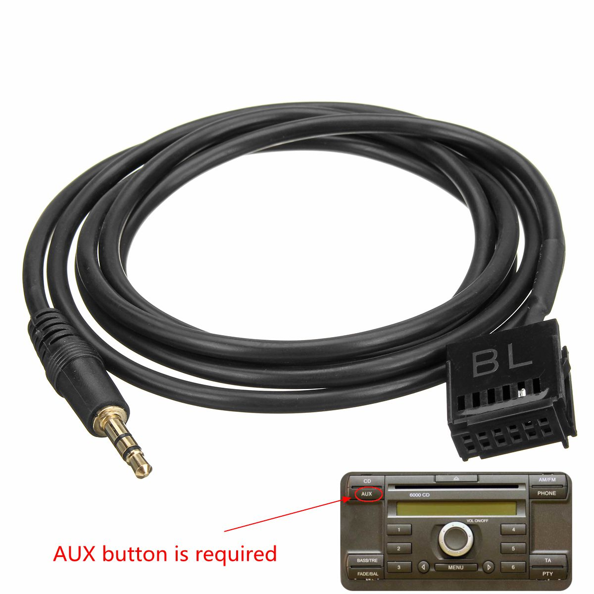 Best Price 6000cd Aux Input Adapter Cable 35mm Jack Connect Mp3 Wiring Mobile Phone For Ford Focus