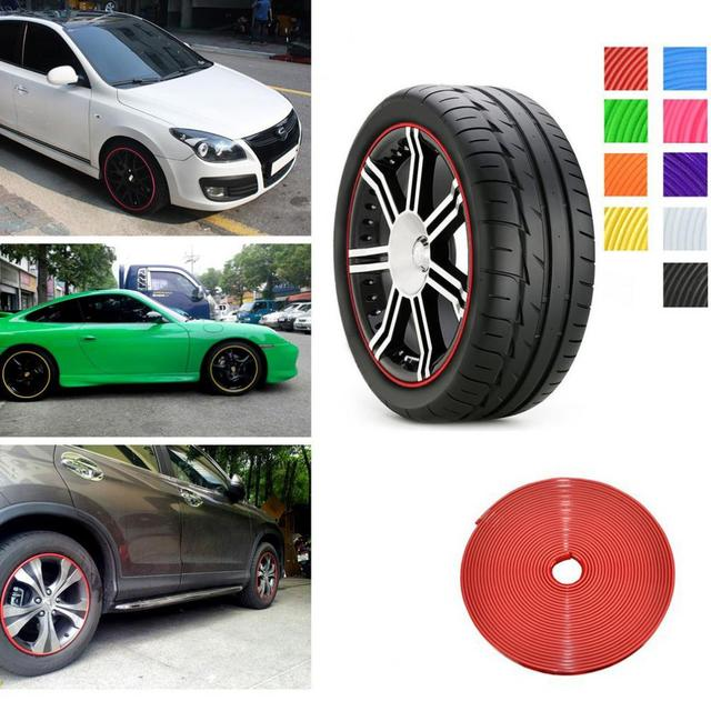 New 8m Car Styling Tire Tyre Rim Care Protector Hub Wheel Stickers Strip for BMW VW Golf 4 Opel Astra Toyota Mazda Accessories