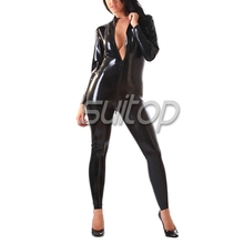 Classic latex catsuit black rubber body suit with zip for Lady women SUITOP
