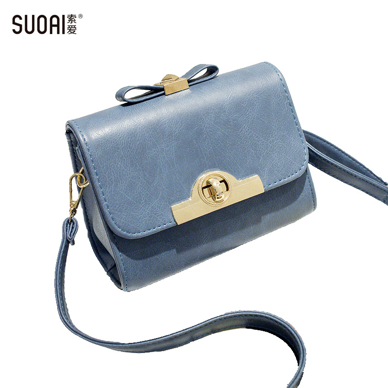 SUOAI Brand Women Shoulder Bags 2016 Summer Candy Style PuSmall Messenger Bag Girls Cute Bow Bolso Hombro With Lock Fashion Bags qzh 2017 summer kids girls messenger bags cartoon mini cute school bag children handbag girl shoulder bag women crossbody bags