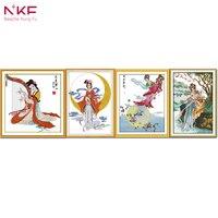 NKF Alte Schönheit/Die Göttin changs Fliegen in den Mond/Fee/Fee und Tiger Kreuzstich für Home DecorR364/R458/R462 (2)/R667