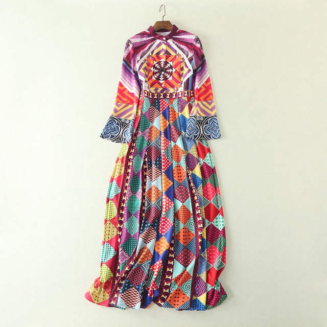 bb2000571b28 AELESEEN 2018 Runway Womens Fashion Pleated Long Sleeve Maxi Dress High  Quality Geometric Print Vintage Party