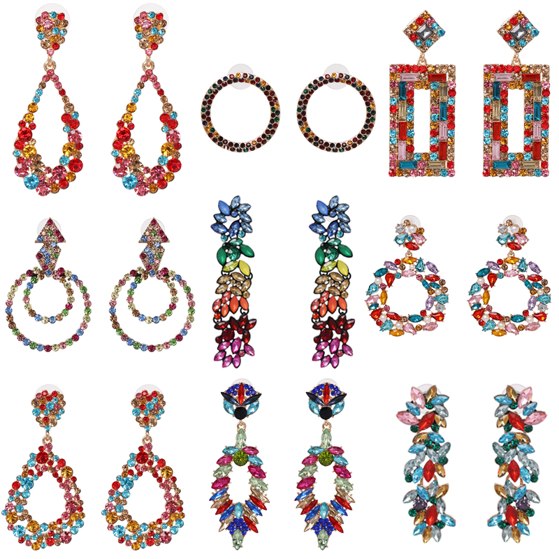 JUJIA Good Quality Multi Colors Crystal Statement Earring Trend Fashion Vintage Statement Stud Earrings Factory Price Wholesale