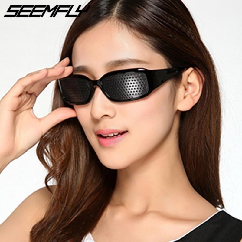 Seemfly Black Pinhole Sunglasses Anti-fatigue Vision Care Pin Hole Mic