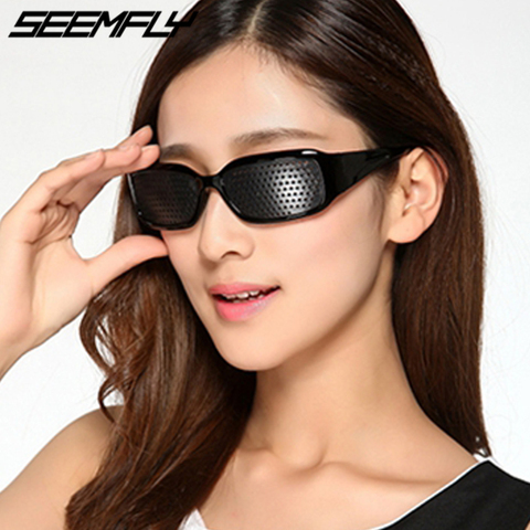 Seemfly Black Pinhole Sunglasses Anti-fatigue Vision Care Pin Hole Microporous Glasses Eye Exercise Eyesight Improve Anti-myopia Pakistan