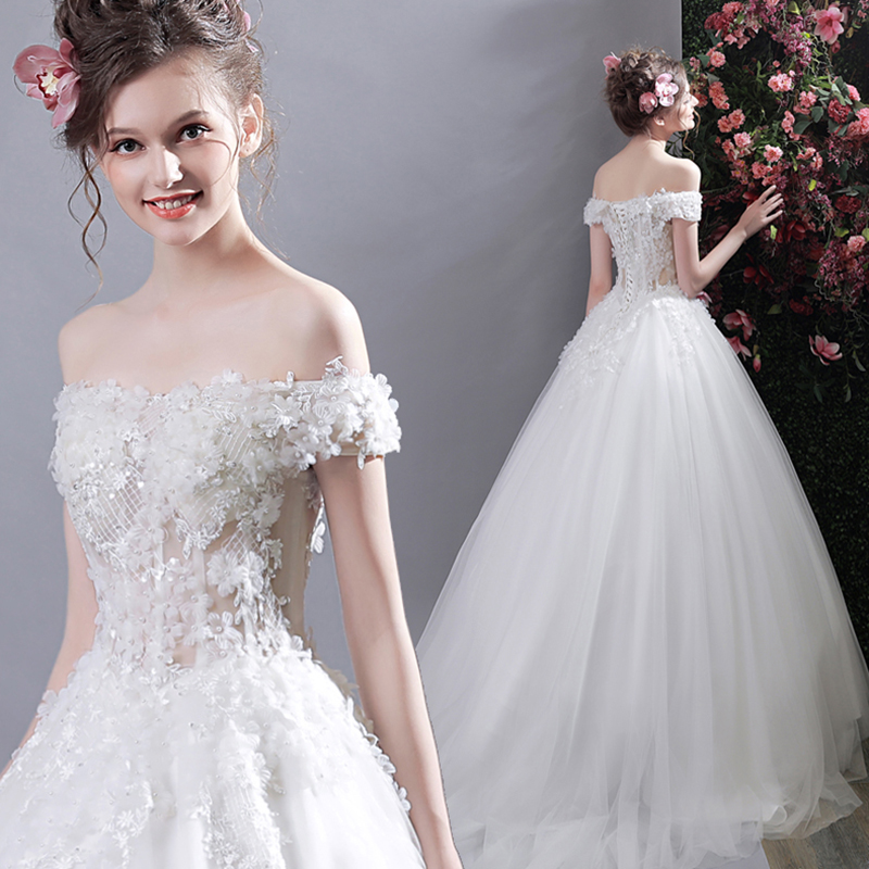 AnXin SH Princess White Rose Lace Wedding Dress Beading Crystal Flower Sleeve Korean 3268 In Dresses From