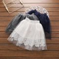 Everweekend Girls Floral Lace Tule Skirts Ruffles Candy Color Princess Party Clothing