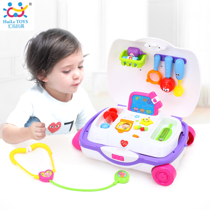 HUILE TOYS 3107 Baby Toys Kids Doctor Suitcase Pretend Play Toy with Music & Light Electronic Doctor Nurse Medical Play Toys Set kids baby doctor medical play set carry case education role play toy kitm43o