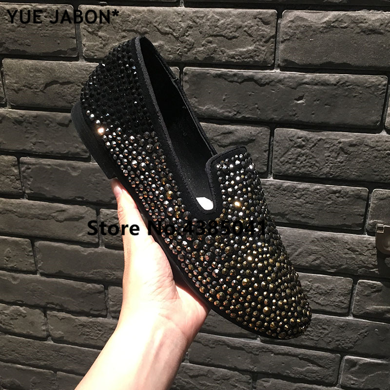 Black Silver Gold Strass Loafers Men Moccasins Crystals Leather Dress Shoes  Flats Slippers Casual Shoes Mix Rhinestones Size 45-in Men s Casual Shoes  from ... a4cc39381b62
