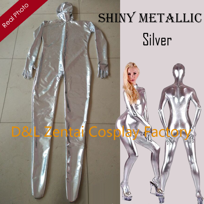 Free Shipping DHL 2017 Halloween Costumes Fullbody Silver Shiny Metallic Zentai Suit Sexy Catsuits Fantasy Carnival Costume