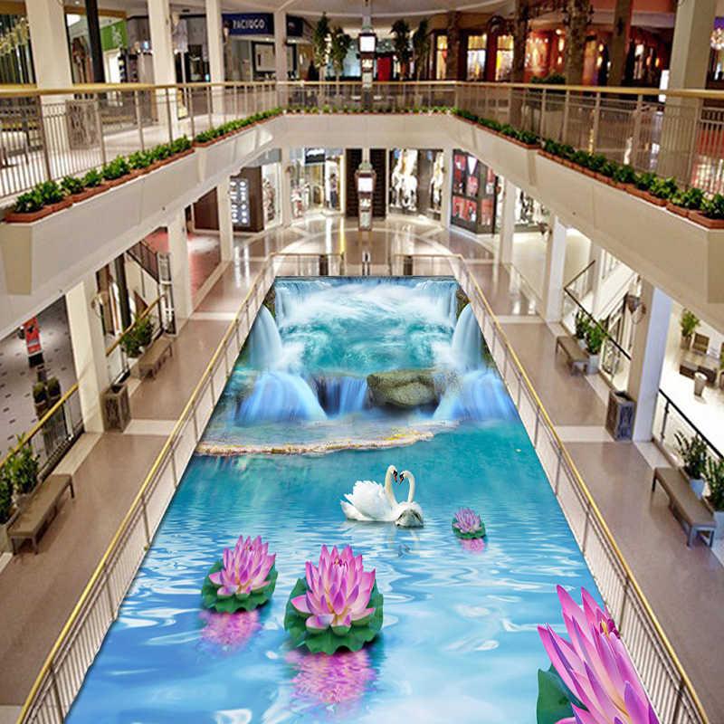 ที่กำหนดเองภาพจิตรกรรมฝาผนังวอลล์เปเปอร์ 3D น้ำตก Swan โลตัสชั้นกระเบื้องสติกเกอร์ห้องน้ำ Mall สวมใส่ลื่นกันน้ำไวนิลสติ๊กเกอร์ติดผนังกระดาษ