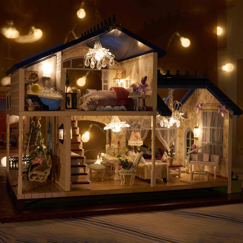 a032 3d wooden large doll house miniatura furniture wood dolls lights dollhouse miniature house toy gifts houses toys in doll houses from toys hobbies on - Dollhouse Christmas Lights