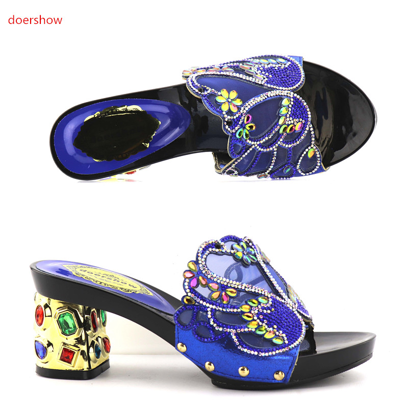 doershow New arrival GOLD rhinestones design ladies pumps African sandal shoes for party   KGB1-28 doershow new coming purple design african sandal shoes with shinning stones for fashion lady free shipping jk1 36