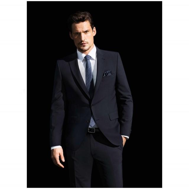 Envío Gratis Oscuro Negro Por Encargo de la boda del Juego del Hombre 2 Unidades Traje (Jacket + pants + tie) Slim Fit para Traje de Boda Del Padrino de Boda Esmoquin Venta Caliente